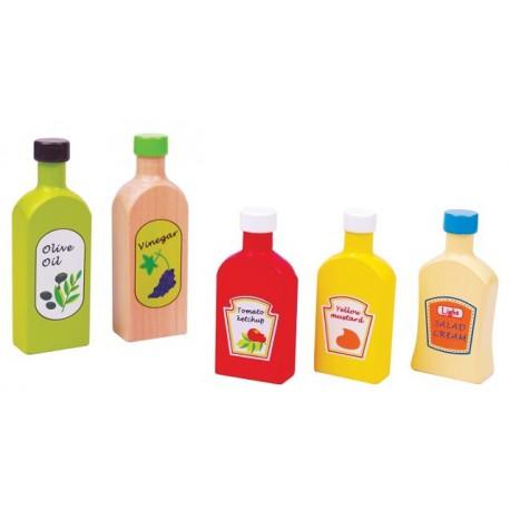 Flesjes saus, olie en azijn