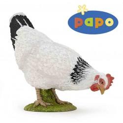 Figurine Poule blanche picorant PAPO