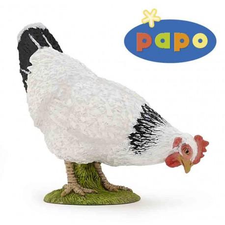 Papo witte pikkende Kip Figuurtje