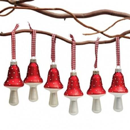 Set de 6 glazen rode paddestoelen