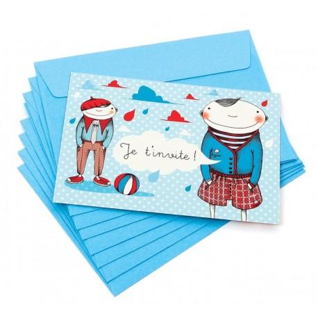"""Pack de 8 cartes + 8 enveloppes Invitation Anniversaire """"Pépettes"""" garçon Melle Héloïse"""
