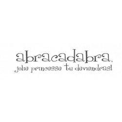 "Muursticker ""Abracadabra..."" (zwart) - Le Prédeau (wit)"