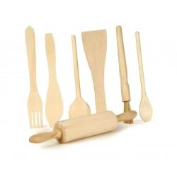 Set van 7 houten keukenaccessoires