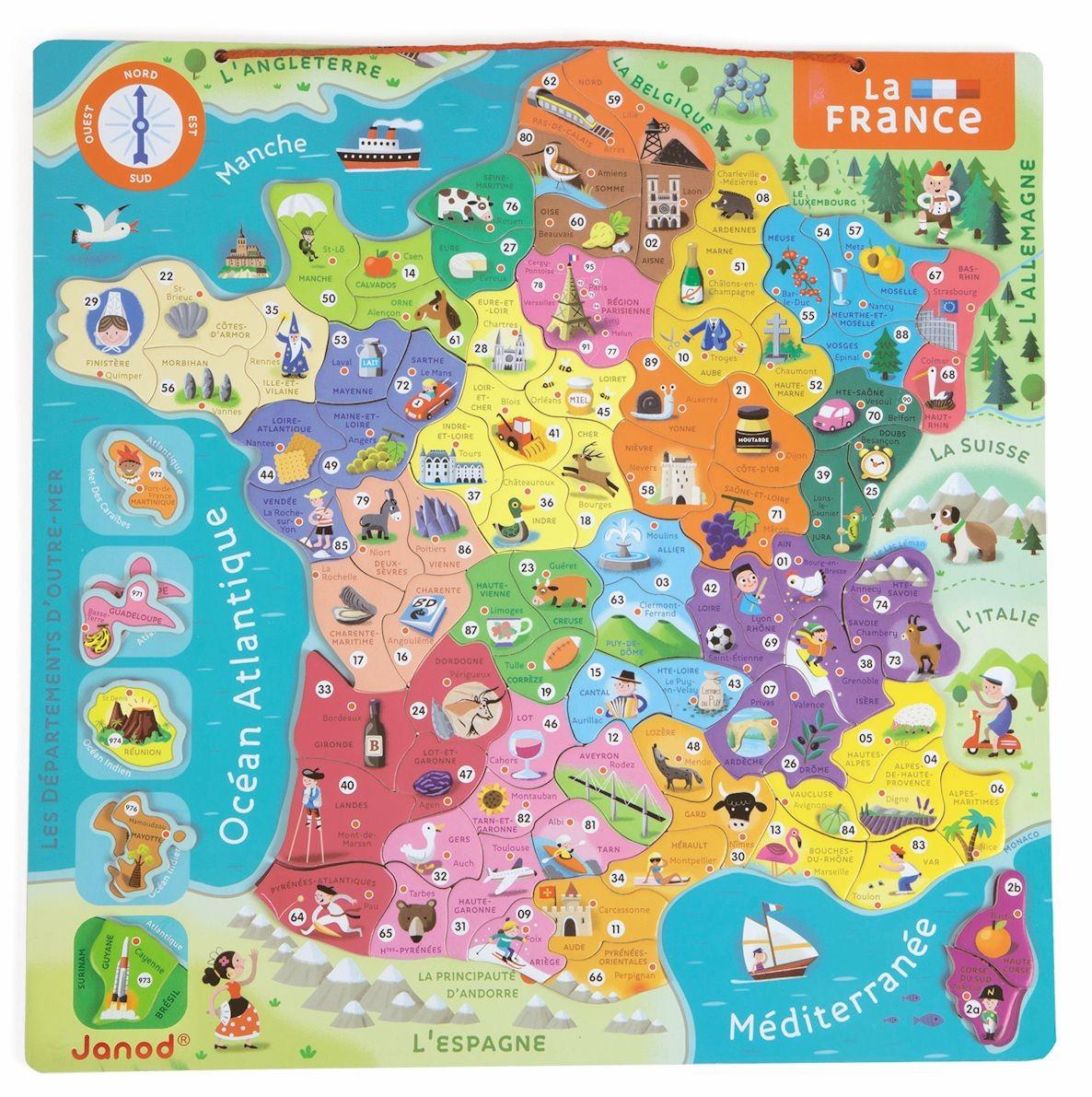Carte Europe Janod.Puzzle Magnetique De La France Jouet Educatif Janod