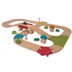 Wegcircuit - Plan Toys (42 stuks)