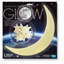 Lune + 12 étoiles phosphorescentes
