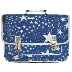 Grote blauwe Boekentas met sterren (leerjaar)