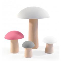 Houten Paddestoelen Roze/Grijs