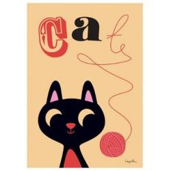 Poster Kat met wolbal (Ingela P Arrhenius)
