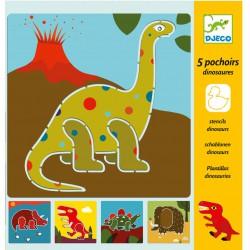 5 pochoirs Dinosaure Djeco