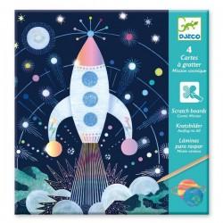 4 cartes à gratter Mission Cosmique (Djeco)