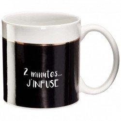 """Mug Black&Gold """"2 minutes, j'infuse"""""""