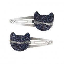2 haarspeldjes Kats blauw