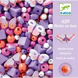 """450 perles en bois  """"papillons"""" Djeco"""
