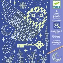 4 cartes à gratter phosphoreschentes Dans la nuit