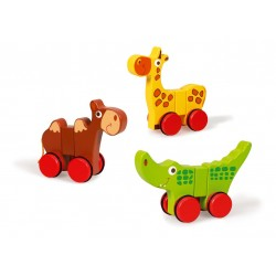 3 magnetische dieren op wielen