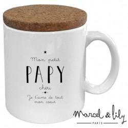 """Mug avec son couvercle """"papy chéri"""""""