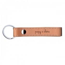 """Lederen sleutelhanger  """"papy chéri"""""""