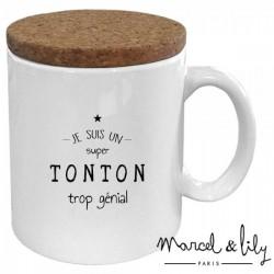"""Mug met deksel """"Tonton trop génial"""""""