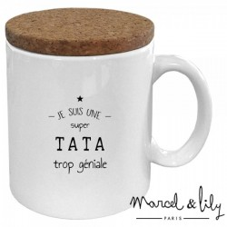 """Mug avec son couvercle """"Tata trop géniale"""""""