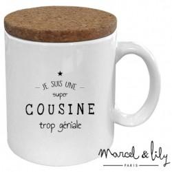 """Mug met deksel """"Cousine trop géniale"""""""