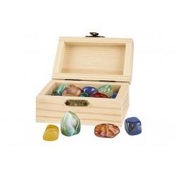 Coffret en bois + pierres précieuses