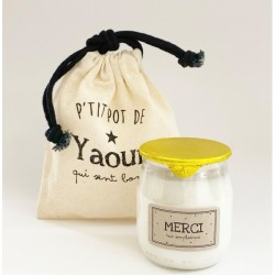 "Bougie p'tit pot de yaourt ""Merci"""