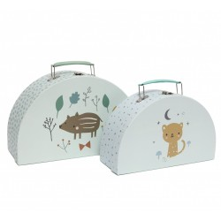 Set de 2 valisettes Woodland mint