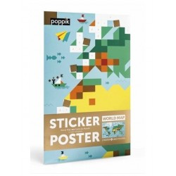 Poppik sticker poster Wereldkaart