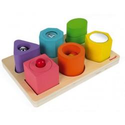 Puzzel met 6 zintuiglijke blokken