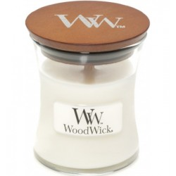 Kaars Woodwick white teak (klein)