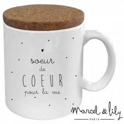 """Mug avec son couvercle """"Soeur de coeur"""""""