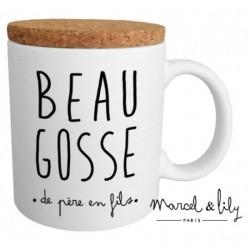 "Mug met deksel ""Beau gosse de père..."""