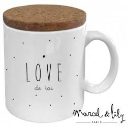 "Mug avec son couvercle ""Love de toi"""