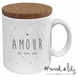 """Mug avec son couvercle """"Amour de ma vie"""""""