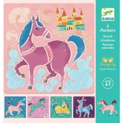 5 sjablonen Paarden Djeco
