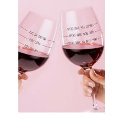 set van 2 gegradueerde wijnglazen