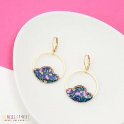 Boucles d'oreilles Camélia Fleurs bleues