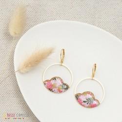 Boucles d'oreilles Camélia Feuillage rose