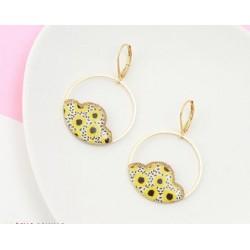 Boucles d'oreilles Camélia Fleurs citron