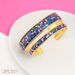 Bracelet jonc fin fleurs bleues La Belle Camille