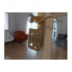 Plaque de porte personnalisable en bois - Papillons