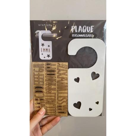 Plaque de porte personnalisable en bois - Coeur